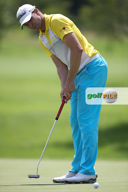 Charl Coetzee (RSA) putts out on the 13th on the West Course during Round Two of the Joburg Open 2015 at the Royal Johannesburg & Kensington Golf Club, Johannesburg, Gauteng, South Africa. Picture:  David Lloyd / www.golffile.ie. 27/02/2015