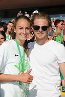 20170527 - KOELN , GERMANY : Wolfsburg's Tessa Wullaert (L) with boyfriend pictured after the final of German Women's Cup 2017 - Pokal Final Frauen , a soccer women game between SC Sand and holders VfL Wolfsburg  , at the Rhein Energie Stadion , saturday 27 th Mayl 2017 . PHOTO SPORTPIX.BE | DIRK VUYLSTEKE