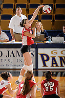 20 November 2008:  WKU outside hitter Aquila Orr (15) hits a kill shot during the WKU 3-0 victory over Denver in the first round of the Sun Belt Conference Championship tournament at FIU Stadium in Miami, Florida.