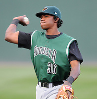 Outfielder Sundrendy Windster (36) of the Augusta GreenJackets, Class A affiliate of the San Francisco Giants, in a game against the Greenville Drive on April 7, 2011, at Fluor Field at the West End in Greenville, South Carolina. (Tom Priddy / Four Seam Images)