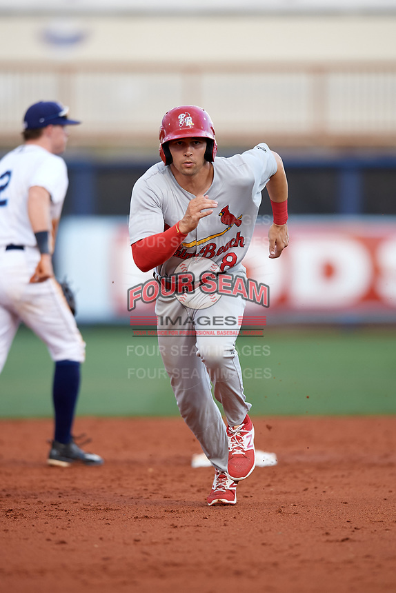 Palm Beach Cardinals right fielder Thomas Spitz (8) running the bases during a game against the Charlotte Stone Crabs on April 11, 2017 at Charlotte Sports Park in Port Charlotte, Florida.  Palm Beach defeated Charlotte 12-6.  (Mike Janes/Four Seam Images)