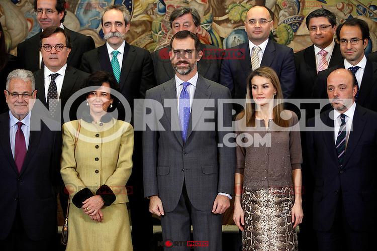 Ana Patricia Botin, Prince Felipe of Spain and Princess Letizia of Spain attend an audience at Zarzuela Palace attend an audience at Zarzuela Palace. December 14, 2012. (ALTERPHOTOS/Caro Marin) /NortePhoto