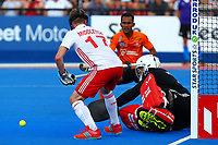 England goalie George Pinner makes a fine save during the Hockey World League Semi-Final Pool A match between England and Malaysia at the Olympic Park, London, England on 17 June 2017. Photo by Steve McCarthy.