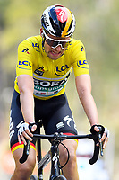 14th March 2020, Paris to Nice cycling tour, final day, stage 7;   SCHACHMANN Maximilian (GER) of BORA - HANSGROHE crosses the finish line exhausted after stage 7 of the 78th edition of the Paris - Nice cycling race, a stage of 166,5km with start in Nice and finish in Valdeblore La Colmiane on March 14, 2020 in Valdeblore La Colmiane, France