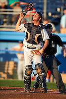 Mahoning Valley Scrappers catcher Richard Stock #20 during a NY-Penn League game against the Batavia Muckdogs at Dwyer Stadium on August 21, 2012 in Batavia, New York.  Batavia defeated Mahoning Valley 4-1.  (Mike Janes/Four Seam Images)