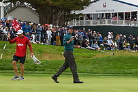 Adam Scott (AUS) after sinking his putt on 3 during round 4 of the 2019 US Open, Pebble Beach Golf Links, Monterrey, California, USA. 6/16/2019.<br /> Picture: Golffile | Ken Murray<br /> <br /> All photo usage must carry mandatory copyright credit (© Golffile | Ken Murray)