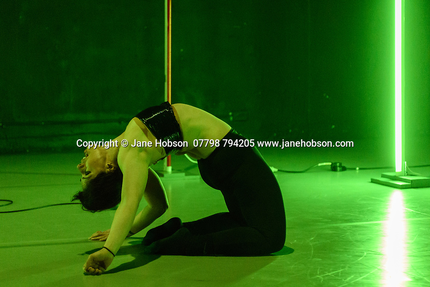 London, UK. 29.03.2017. Sadler's Wells presents WILD CARD: DAN DAW in the Lilian Baylis Studio. Wild Card is a chance to see work by a new generation of dance makers curating a series of special evenings.<br /> <br /> Dance maker and performer Dan Daw curates an evening of collaborations exploring the notions of &lsquo;success&rsquo; and &lsquo;failure&rsquo;, highlighting the role of the audience&rsquo;s perception in distinguishing the two.<br /> <br /> Alongside a collaboration specially made for the evening by dance artists Lucy Suggate and Hannah Buckley, Dan has invited performer Keren Rosenberg and British performance and visual artist Graham Adey to present their new work &quot;Gender Fuck[er]&quot;. Dan performs his new solo &quot;On One Condition&quot;,  also conceived by Graham Adey. Picture shows:  Keren Rosenberg in GENDER FUCK(ER). Photograph &copy; Jane Hobson.