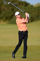 Peter Lawrie of Ireland hits an approach during Round 2 of the 2015 Alfred Dunhill Links Championship at the Old Course, St Andrews, in Fife, Scotland on 2/10/15.<br /> Picture: Richard Martin-Roberts | Golffile