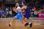 League ACB-ENDESA 2018/2019. Game: 14.<br /> FC Barcelona Lassa vs Monbus Obradoiro: 79-73.<br /> Albert Sabat vs Kevin Pangos.