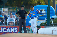 Myrtle Beach Pelicans manager Steve Lerud (39) argues with umpire Mark Bass after having been ejected from the game against the Winston-Salem Dash at TicketReturn.com Field on May 16, 2019 in Myrtle Beach, South Carolina. The Dash defeated the Pelicans 6-0. (Brian Westerholt/Four Seam Images)