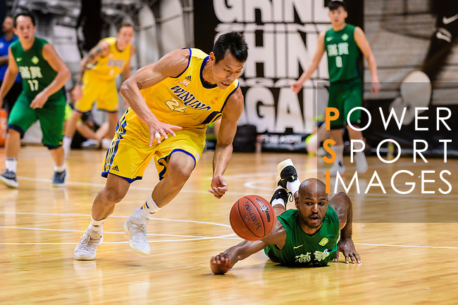 Fong Shing Yee #22 of Winling Basketball Club and Austin Bryant M #23 of Tycoon Basketball Team fight for the ball during the Hong Kong Basketball League playoff game between Winling and Tycoon at Queen Elizabeth Stadium on July 24, 2018 in Hong Kong. Photo by Marcio Rodrigo Machado / Power Sport Images