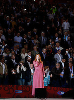 Calcio, finale Tim Cup: Juventus vs Lazio. Roma, stadio Olimpico, 20 maggio 2015.<br /> Italian singer Chiara performs prior to the start of the Italian Cup final football match between Juventus and Lazio at Rome's Olympic stadium, 20 May 2015.<br /> UPDATE IMAGES PRESS/Isabella Bonotto