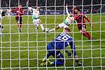01.12.2019, Borussia Park , Moenchengladbach, GER, 1. FBL,  Borussia Moenchengladbach vs. SC Freiburg,<br />  <br /> DFL regulations prohibit any use of photographs as image sequences and/or quasi-video<br /> <br /> im Bild / picture shows: <br /> Nachschuss 11 Meter Ramy Bensebaini (Gladbach #25),  und Laszlo Benes (Gladbach #22), <br /> <br /> Foto © nordphoto / Meuter