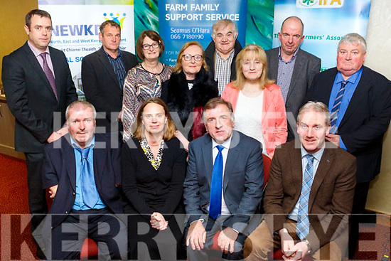 At the  IFA and  NEWKD  'Future of farming' conference at Manor West Hotel on Tuesday were Front l-r John Stack, charman NEWKD, Áine Macken-Walsh, Teagasc, Joe Brady, IFA Rural Development Chairman,  Barry Caslin, Teagasc, Back l-r Denis Griffin, IFA, Pat O'Driscoll, Kerry County Chair, Mary Dillon, NEWKD, Bridget O'Connor, NEWKD, Richard Hartnett, May Fleming, IFA, John Dalton, NEWKD Family Farming, Pat O'Shea, NEWKD Family Farming