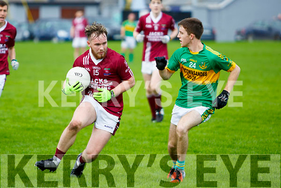 Cromane against Moyvane at the Novice Club Football Championship Final at Strand Road on Sunday. In Action Cromane's Mikey Houlihan and Moyvanes Mark Mulvihill
