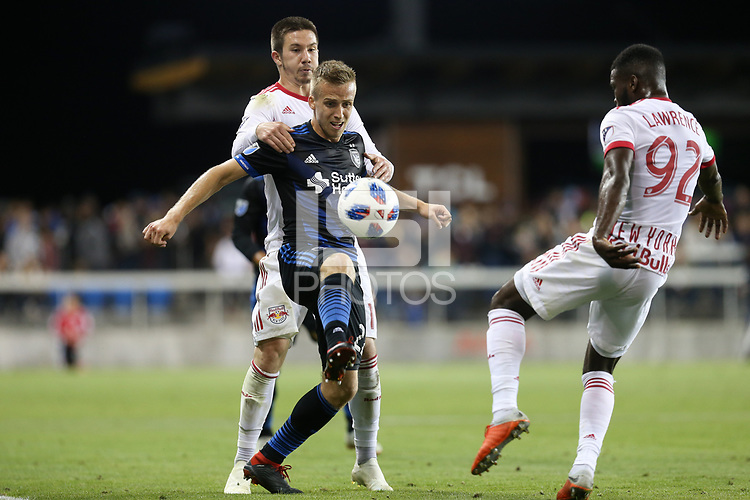 San Jose, CA - Saturday October 06, 2018: Tommy Thompson during a Major League Soccer (MLS) match between the San Jose Earthquakes and the New York Red Bulls at Avaya Stadium.