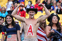 Fans during the 2016 HSBC Wellington Sevens at Westpac Stadium, Wellington, New Zealand on Saturday, 30 January 2016. Photo: Simon Watts / lintottphoto.co.nz