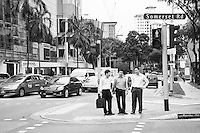 Black and White Photo of Businessmen in Singapore Central Business District (CBD)
