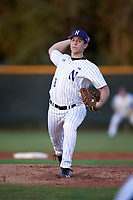Northwestern Wildcats starting pitcher Dan Kubiuk (8) delivers a pitch during a game against the Saint Leo Lions on March 4, 2016 at North Charlotte Regional Park in Port Charlotte, Florida.  Saint Leo defeated Northwestern 5-3.  (Mike Janes/Four Seam Images)