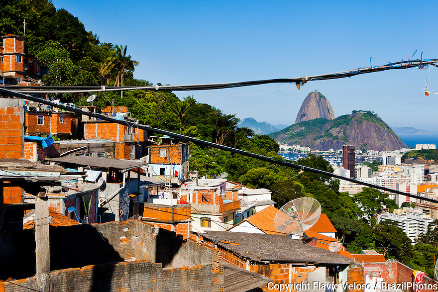 Sugar Loaf mountain seen from Favela Santa Marta in Botafogo quarter.