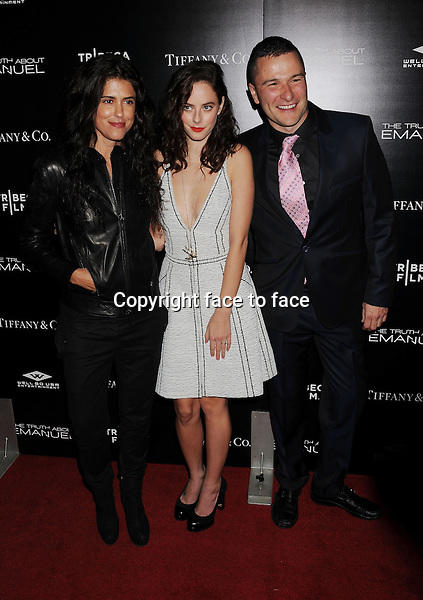 HOLLYWOOD, CA- DECEMBER 04: (L-R) Director/writer Francesca Gregorini, actress Kaya Scodelario and actor Matt Brady arrive at the 'The Truth About Emanuel' - Los Angeles Premiere - Arrivals at ArcLight Hollywood on December 4, 2013 in Hollywood, California.<br /> Credit: Mayer/face to face<br /> - No Rights for USA, Canada and France -