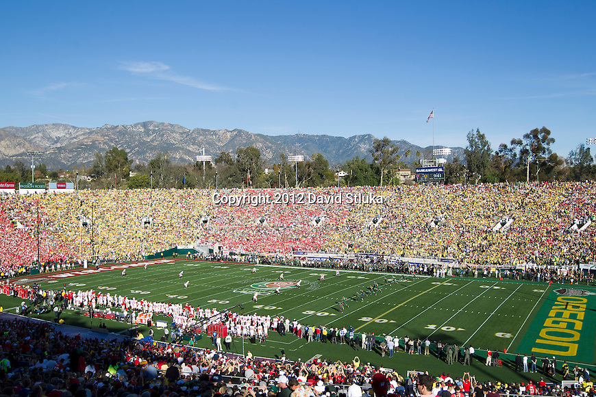 A general view of Rose Bowl Stadium during the Wisconsin Badgers 2012 Rose Bowl NCAA football game against the Oregon Ducks in Pasadena, California on January 2, 2012. The Ducks won 45-38. (Photo by David Stluka)