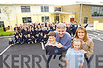 Pictured on Wednesday at Scoil Bhréanainn, Tralee following building work and refurbishment of the school, from left: Michael Hoare who celebrated his thirteenth birthday on Wednesday, Mike Sweeney (principal), Caoimhe Edwards, Angela Brosnan (sixth class teacher).