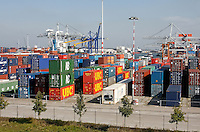 Containers in de haven van Rotterdam