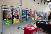 Posters for candidates in the French Presidential election displayed outside the Mairie (Town Hall) in St. Jean du Gard, France.