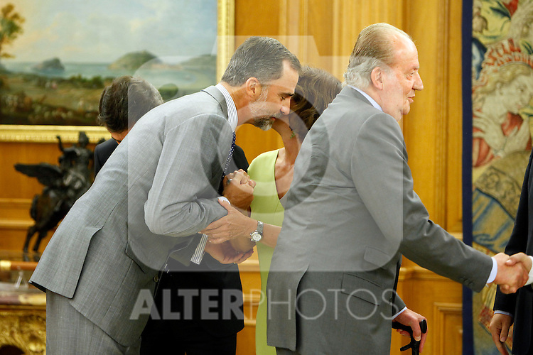 King Juan Carlos of Spain and Prince Felipe of Spain recive in audience to COI representation for candidature of Madrid 2020 Olympic Games in a Zarzuela Place in Madrid. In the pic: Prince Felipe of Spain, King Juan Carlos Of Spain and Ana Botella. September 10, 2013. (ALTERPHOTOS/Caro Marin)