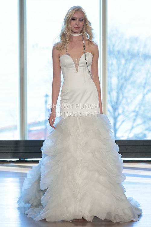 """Model Milou walks runway in a """"Ziggy"""" bridal gown from the Rivini Spring Summer 2017 bridal collection by Rita Vinieris at The Standard Highline Room, during New York Bridal Fashion Week on April 15, 2016."""