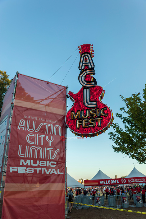 Welcome to Austin City Limits Music Festival greets the concert goes as they enter Zilker Park to see over 100 bands perform during the weekend long concert event spanning two weekends every October in downtown Austin, Texas.