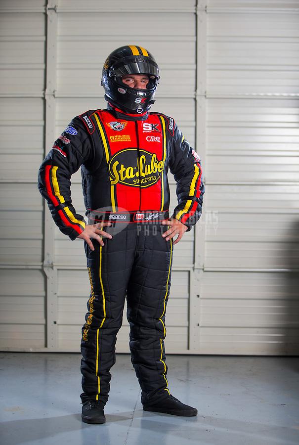 Aug 26, 2015; Glendale, AZ, USA; NHRA top alcohol funny car driver Stefan Kontos during a portrait shoot. Mandatory Credit: Mark J. Rebilas-