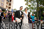 The Dublin Rose Arlene O'Neill makes her way from the Carlton Hotel to the Dome before the Tuesday night Rose Selection.