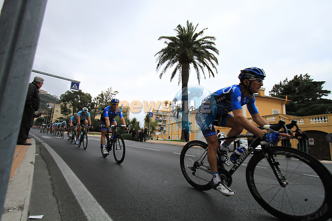 Riders pass through the town of Pietra Ligure during the 298Km Milan-San Remo cycle race, 17th March 2012 (Photo by Manus O'Reilly/NEWSFILE)