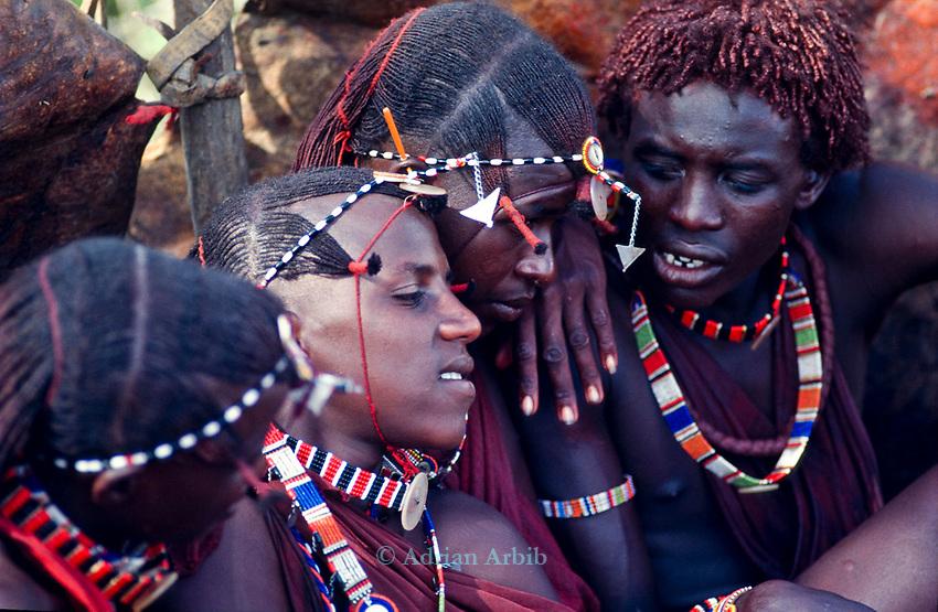 Maasai Moran at their initiation into manhood.<br />Kajiado, Kenya.