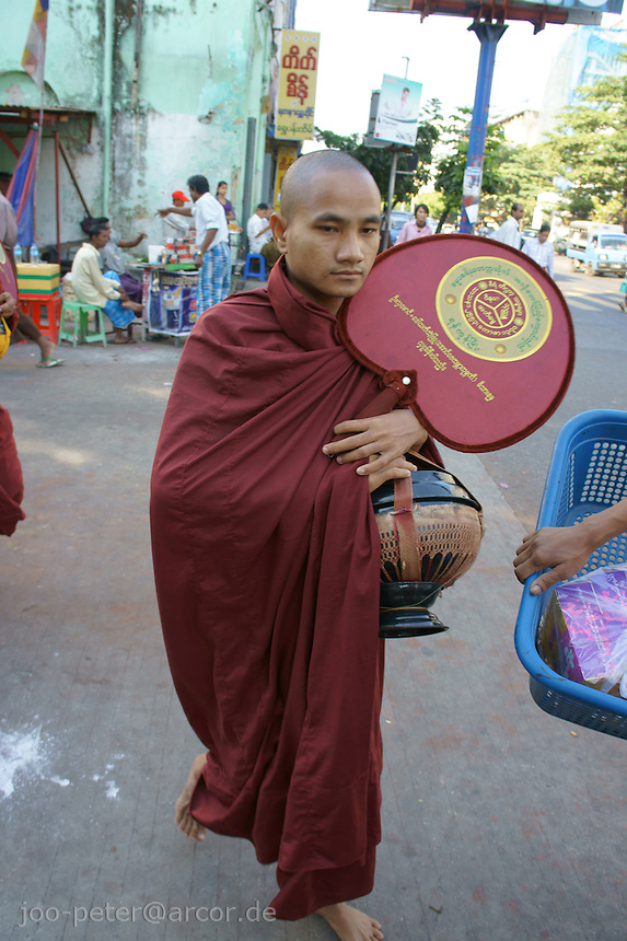 monk in the streets of Yangon
