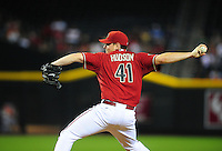 Jun. 1, 2011; Phoenix, AZ, USA; Arizona Diamondbacks pitcher Daniel Hudson against the Florida Marlins at Chase Field. Mandatory Credit: Mark J. Rebilas-