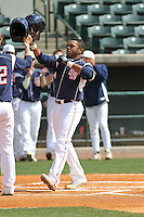 Samford Bulldogs outfielder Phillip Ervin #6 after hitting a home run in his first at bat during a game against the The Citadel Bulldogs at Joseph P. Riley Jr. Ballpark on March 10, 2013 in Charleston, SC. Samford defeated the Citadel 14-8. (Robert Gurganus/Four Seam Images)