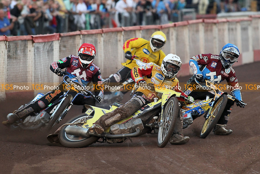 Heat 3: Martin Smolinski (white), Peter Karlsson (red), Kim Nilsson (blue) and Ricky Ashworth - Lakeside Hammers vs Birmingham Brummies - Sky Sports Elite League Speedway at Arena Essex Raceway, Purfleet - 10/08/12 - MANDATORY CREDIT: Gavin Ellis/TGSPHOTO - Self billing applies where appropriate - 0845 094 6026 - contact@tgsphoto.co.uk - NO UNPAID USE.