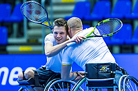 Rotterdam, Netherlands, December 16, 2017, Topsportcentrum, Ned. Loterij NK Tennis, Winners Wheelchair man's double final: Maikel Scheffers (R) and Ruben Spaargaren (NED)<br /> Photo: Tennisimages/Henk Koster