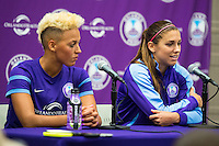 Orlando, Florida - Saturday, April 23, 2016: Orlando Pride forward Lianne Sanderson (10) and Orlando Pride forward Alex Morgan (13) speak to the media after an NWSL match between Orlando Pride and Houston Dash at the Orlando Citrus Bowl.  The Pride won 3-1 and both players scored a goal.