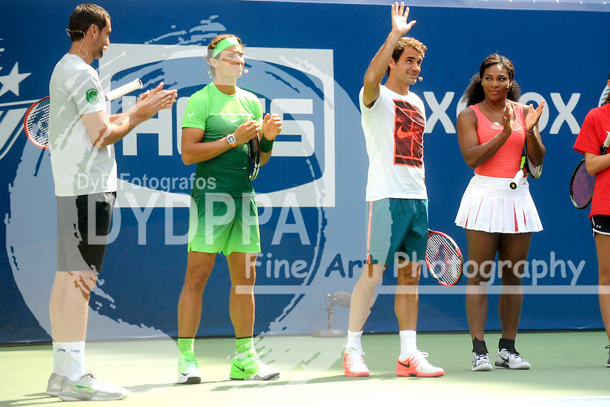 Marin Cilic, Rafael Nadal, Roger Federer and Serena Williams attending Arthur Ashe Kids Day 2015 at the US Open at USTA Billie Jean King National Tennis Center on August 29, 2015 in New York City