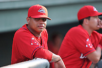 Pitcher Luis Ramos, left, and infielder Hector Lorenzana of the Greenville Drive wait for the start of a game against the Charleston RiverDogs on Friday, August 14, 2015, at Fluor Field at the West End in Greenville, South Carolina. Charleston won 6-2. (Tom Priddy/Four Seam Images)