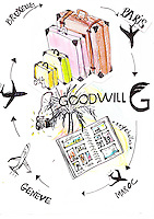 An illustration for Samuel Bucciacchio (president of Goodwill) by Oceane Buret