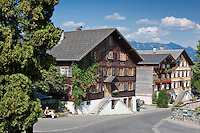 Austria, Vorarlberg, Schwarzenberg: village centre with listed (landmarked) buildings | Oesterreich, Vorarlberg, Schwarzenberg: Ortskern mit denkmalgeschuetzten Haeusern