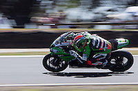 Tom Sykes (GBR) riding the Kawasaki ZX-10R (66) of the Kawasaki Racing Team rounds turn 11 during a practise session on day two of round one of the 2013 FIM World Superbike Championship at Phillip Island, Australia.