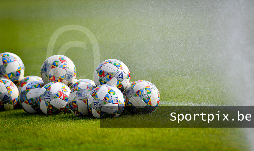 illustration pictured showing balls before a friendly soccer game between the national teams Under19 Youth teams of Belgium and Germany on tuesday 8 th of September 2020  in Genk , Belgium . PHOTO SPORTPIX.BE   SPP   DAVID CATRY