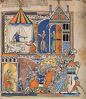"(Up) Uriah Refuses to Return Home: Uriah will not obey David's orders to return home, for to do so in a time of war would bring shame upon him. He sets up his eagle-topped pavilion before the king's house and enjoys a rich feast provided by the king. David's grand doorway is crowned by a finial topped by a royal fleur-de-lis. (2 Samuel 11:7ñ9); (Down) Uriah is Slain: David, unable to convince Uriah to return home, sends him back to the Israelite camp with a sealed letter for Joab. Joab is instructed to reassign Uriah to the fiercest part of the battle. Uriah is posted to the front lines of the Israelite siege at Rabbah, where valiant men defend the citadel. There he is struck by a bolt fired from an enemy crossbow and killed. (2 Samuel 11:14ñ17). Excerpt of the first edition of the ""Crusader Bible"", 13th century manuscript kept in the Pierpont Morgan Library in New York, on natural parchment made of animal skin published by Scriptorium SL in Valencia, Spain. © Scriptorium / Manuel Cohen"