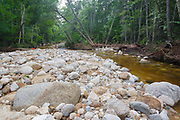 Cedar Brook crossing along the Pemi East Side Trail in the Pemigewasset Wilderness of Lincoln, New Hampshire after flash floods from Tropical Storm Irene in 2011 cause massive erosion along the brook. This tropical storm caused major destruction along the East Coast of the United States and the White Mountain National Forest was officially closed during the storm.
